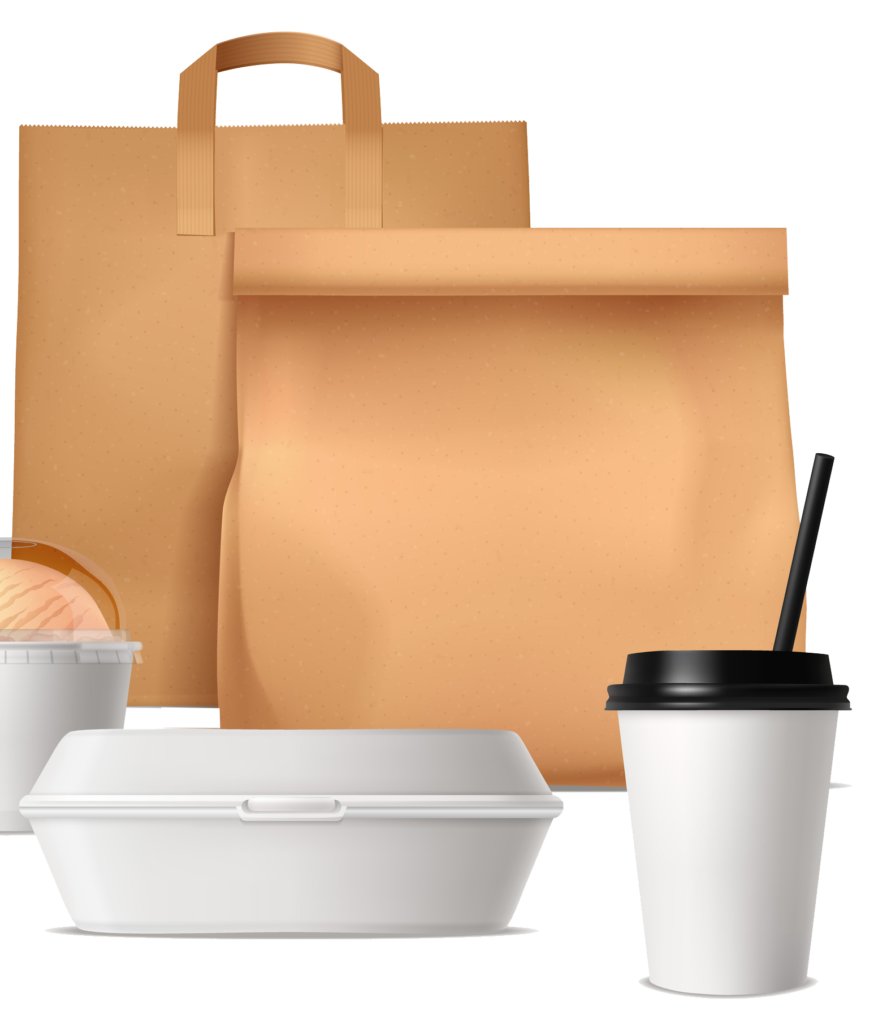 Green Take out containers: Bag cup hinged container