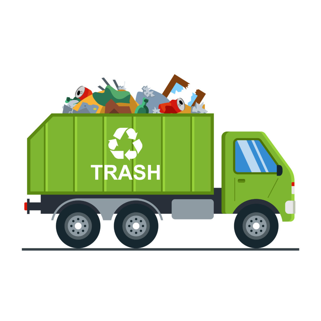 Green Trash Truck Hauling Garbage Eco friendly recyclable